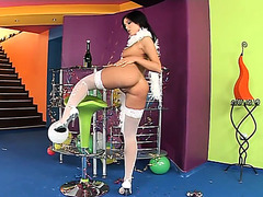 Hawt playgirl with a merry wazoo loses her white nylons and licks her feet