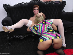 Older Bimbo And A Golden-Haired Bombshell Love Licking Their Juicy Pussies