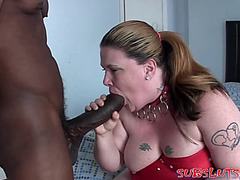 Bulky blonde drilled by a large darksome pecker