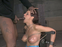 Darksome lewd stud face hole copulates bound up white hooker coarse