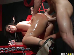 Hawt hottie Emma Heart has her constricted booty pounded hard by a biggest meat pole
