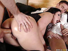 Emma Heart receives double teamed during the time that on the sofa
