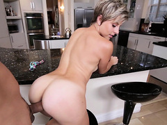 Short haired blond angel with a splendid a-hole can't resist a large dick