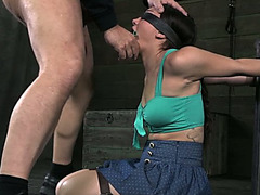 Strapped and blindfolded brunette hair acquires brutally face hole drilled