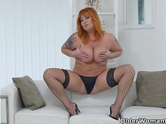 Redhead mother i'd like to fuck Alex disrobes off and fingers her older cum-hole