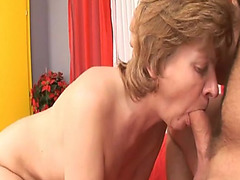 Sexually Excited granny sucks on a hard pecker previous to being screwed