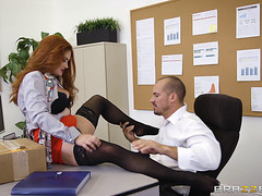 Lascivious Mother I'd Like To Fuck In Miniskirt Yelling Whilst Banging On Large Wang In Office