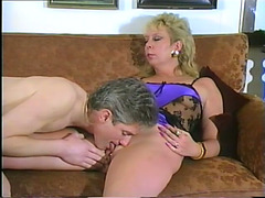Older Golden-Haired Blows And Receives Her Pierced Fur Pie Smashed