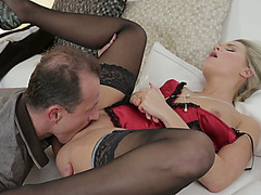 Seductive golden-haired honey Barra Brass receives pushed actively in a missionary position