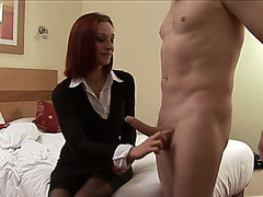 Lusty business woman wanked off my buddy's powerful wang at home