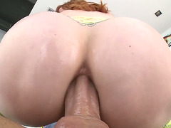 Excited sex kitten Lauren Phillips large head like no other and hawt group-sex buddy knows it