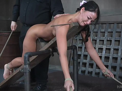 Sexy brunette hair Thrall gal receives her constricted gazoo toyed and hooked in S&M menacing-fearsome PornDoe