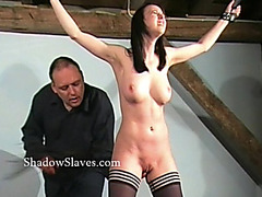 Hellpain whipping of bound Emily Sharpe in extraordinary drubbing and humiliating