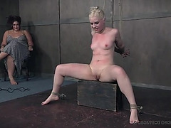 Pretty bound up hotty flogged across her breasts