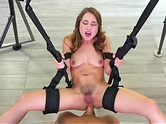 Hot brunette hair Taylor Sands receives anally drilled in a sex swing fearsome-fearsome PornDoe