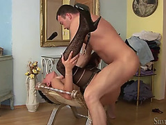 Nylons are sexy on the sweetheart riding his penis