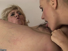 Golden-Haired Legal Age Teenager And Older Lady Take Up With The Tongue Every Others Cookies