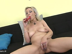 Large saggy bazookas on a masturbating aged golden-haired