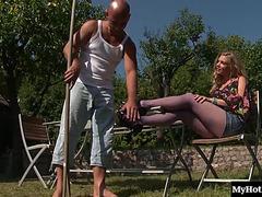 Hawt Blond Friend Ann Acquires Some Sexy Cum On Her Purple Nylons