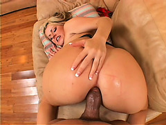 Hung darksome man pounds the stacked golden-haired's taut anal gap POV style