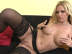 Hawt mother i'd like to fuck chick in dark nylons rubs her vagina