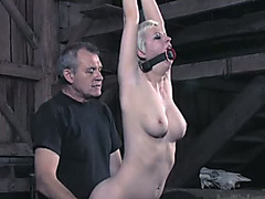 Slutty golden-haired slut with large mounds is fucked bad in SADOMASOCHISM fuck movie scene