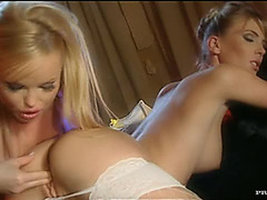 Pretty Golden-Haired Lesbian Babes Gina And Silvia Saint Go Wild With Sex Toys