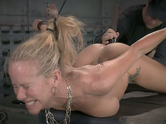 Dumpy golden-haired girl Simone Sonay had extremely hard S&M three some ever