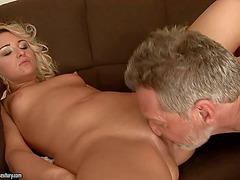 Miniature juvenile blond Cynthia Moore likes older weenie
