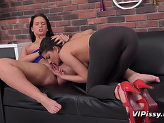 Piddle loving Fetish whores Francesca and Naty Lee plays Impure menacing-fearsome PornDoe