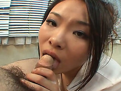Ardent Oriental secretary Fujiko Komine gives worthy blow job to her boss