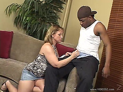 Lewd Wife In Miniskirt Sucks Darksome Wang And Swallows Cum In Interracial Porn