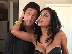 Dark Brown bombshell Priya Rai gives a oral-service and receives her love tunnel group-fucked