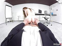POV sex with cute schoolgirl VR style
