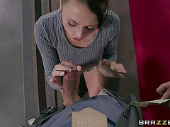 Pussyhole of small Megan Sage pressed by the biggest pecker of Tommy