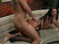 Bella Reese fearsome-fearsome glamorous skin brunette hair a-hole kiss scene