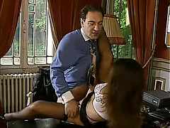 Thick bone in her constricted European secretary arse