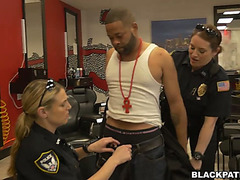 2 sex-hungry doxies in cop uniform fuck one arrested dark man