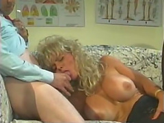 Golden-Haired wench gives handjob and acquires her snatch screwed hard