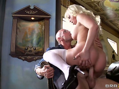 Blond Britney Amber with moist jugs feels like that babe is Johnny Sinss fuck toy in this anal session after cock engulfing