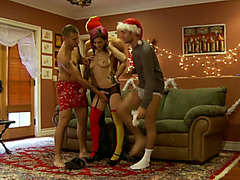 Lusty playgirl gives great oral-job to a duett of impure santas in behind the scene episode