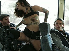 Perverted dark brown hair sexpot gets her cum-hole nailed in the public bus