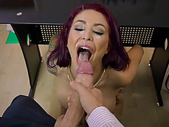 Superb office facial for breasty Monique Alexander