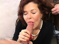 Breasty redhead mother i'd like to fuck can't hide her passion for having 2 juvenile dudes banging her love tunnel