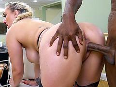 Overweight golden-haired bimbo Nina Kayy taking lengthy dark shaft