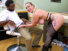 Nina Kayy joyfully sucks his large dark boner
