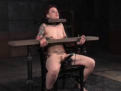 Tattooed sadomasochism sub with redhair dominated
