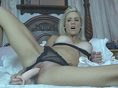 Insane doxy wife Jolene tries to satisfy her pussy with different sex toys
