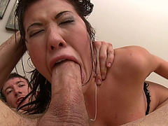 Wicked oriental doxy London Keyes getting drilled wazoo to throat