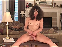 Slender dark brown mother i'd like to fuck masturbates in living room
